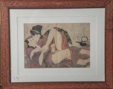 """Kitagawa, Utamaro (1753-1806), """"Erotik"""" Nr 12, Farboffsetdruck. Ca. 31 x 21,5 cm, PP,hinter Glas"""