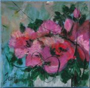 "Jani, ""Blütenzauber"", Acryl/Lw, li. u. sign. Ca. 20 x 20 cm, auf Keilrahmen aufgezogen."