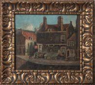 Unbekannter Maler (20. Jahrhundert), Straßenansicht an einer holländischen Gracht, Öl/Lw,re. u.