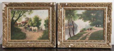 Machabey, Jean (19./20. Jahrhundert), Gemäldepaar, Rurale Landschaften mit Vieh undfigürlicher