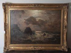 """Douzette, Louis (1834-1924), Mondscheinnacht an der Ostseeküste, Öl/Lw, li. u. sign. u.dat. """"Louis"""