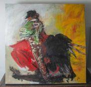 "Jani, ""Abstraktion - El Toro"", Acryl/Lw, re. u. sign. Ca. 100 x 100 cm, auf Keilrahmenaufgezogen."