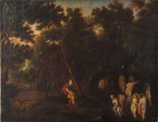 Altmeister des 17./18. Jahrhunderts, Das Bad der Diana mit Aktäon, Öl/Lw., doubliert. DerJäger