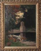 Schilling, Friedrich (19./20. Jahrhundert), Ruinenlandschaft mit asendem Rotwild, Öl/Lw.,re. u. in