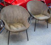 2 Cocktailsessel, 50 Jahre, sog. Sputnik Chair, Wildlederbespannung, schwarz
