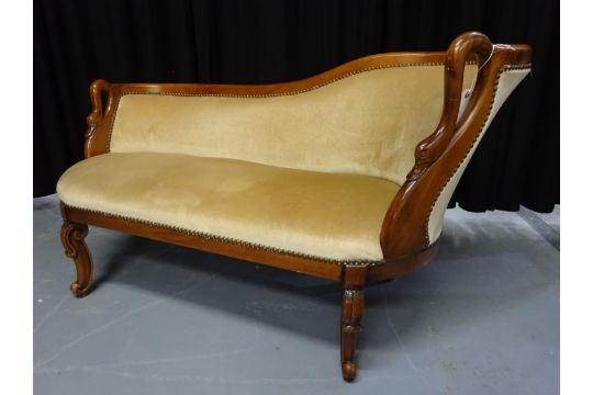 Chaise longue, stained beech, with double swan neck arms 134cm wide on chaise recliner chair, chaise furniture, chaise sofa sleeper,