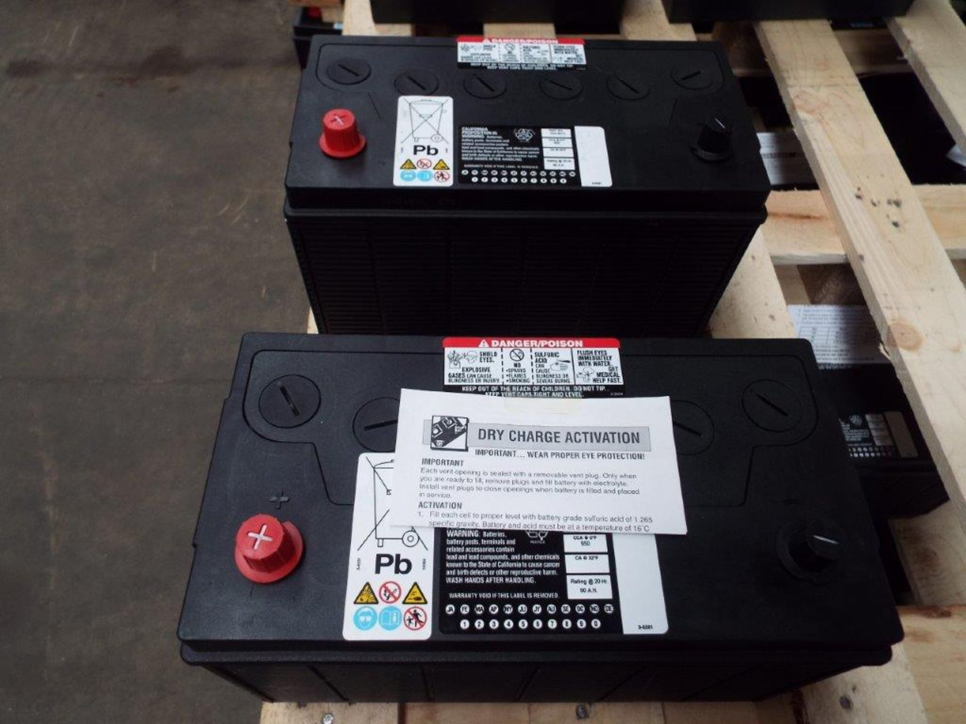 Lot 28 - 2 x Unissued CAT 354-3613 Dry Charge 12v 90A.H. Batteries
