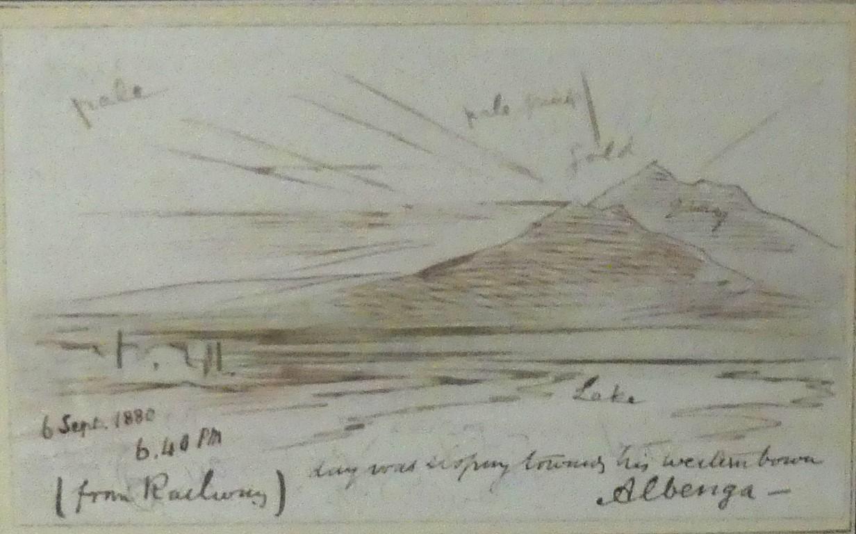Lot 639 - Edward Lear (British, 1812-1888) - 'Albenga From the Railway' Pen,