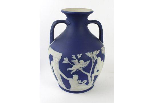 A Good 19th Century Wedgwood Blue Jasperware Twin Handled Portland