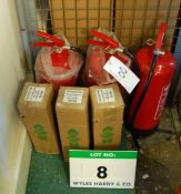 Three 9-Litre Water Fire Extinguishers and Three 2Kg Powder Fire Extinguishers