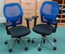 Two Blue Mesh Back Operators Chairs with Arms & Gas Lift