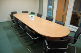 A 4M x 1.2M Oak Effect Double 'D' Ended Boardroom Table with Arrow Head Bases, matching 1400mm 3-
