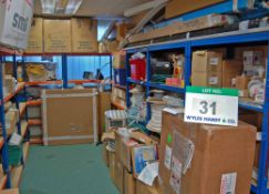 Nine Bays of Refrigeration Consumables, Parts and Returns including Universal Fan Motors, Electric