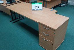 A 1600mm x 800mm Limed Oak Effect Cantilever Desk with Desk Height Pedestal