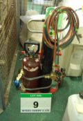 A Portable Oxy-Acetylene Set including Torches, Gauges and 2-Bottle Trolley (As Photographed) (