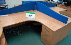 A 4-Pod Limed Oak Effect Workstation comprising Four 1600mm x 1180mm Desks, Four, Desk Height