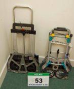 Four Folding Aluminium Stow-Away Trolleys (N.B. Two Need Minor Repairs), (As Photographed)