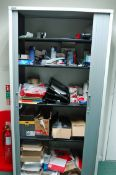 A TRIUMPH Tambour Fronted Stationery Cupboard with Contents (As Photographed)