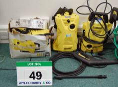THREE K'ARCHER K2 Pressure Washers with Associated Hoses, Lances and Attachments (240V) (As