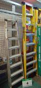 A YOUNGMAN 8-Tread Aluminium Step Ladder and an 8-Tread Fibreglass/Alloy Catwalk Step Ladder