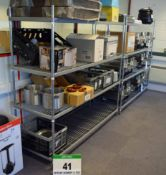 Two 1700mm x 580mm 4-Tier Wire Framed Shelf Racks and A Red Steel Boltless Shelf Rack (Excludes