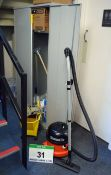 A Grey Steel Double Door Cupboard and Cleaning Material Contents, A NUMATIC Henry Vacuum Cleaner and