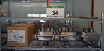 Four OLYMPIA Milan Chafing Dishes each with Two Burner Holders (One Boxed and Unused)