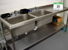 A 2100mm x 680mm Twin Bowl Commercial Free Standing Sink Unit with Single Right Hand Draining Area