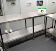 A 2100mm x 600mm Stainless Steel Preparation Table with fitted Lower Shelf