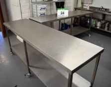 Two 2100mm x 600mm Stainless Steel Preparation Tables each with fitted Lower Shelf
