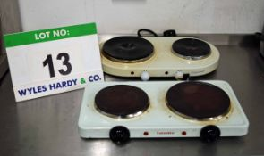 A CATERLITE Benchtop Twin Electric Hot Plate and a COOKWORKS Benchtop Twin Electric Hotplate