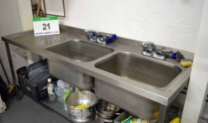 A 2100mm s 680mm Twin Bowl Commercial Free Standing Sink Unit with Single Left Hand Draining Area