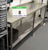 A 2200mm x 580mm Stainless Steel Preparation Table with Bunded Rear Edge and Lower Shelf