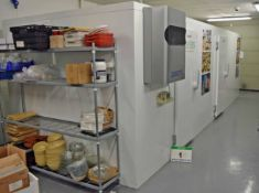 A VIESSMANN Free Standing Modular Walk-In Cold Room and Freezer Room having Two Doors to Chiller