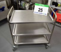 A Stainless Steel 3-Tier Catering Trolley