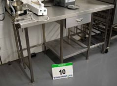 A 1500mm x 680mm Stainless Steel Preparation Table with Rack Shelves to One Side and Single Drawer