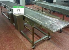An Approx. 600mm Wide x 4950mm Long Stainless Steel Wire Mesh Mobile Horizontal Transfer Conveyor (