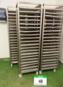 Five UNITECH Stainless Steel 20-Tier Tray Trolleys each with Twenty Approx. 460mm x 460mm Perforated