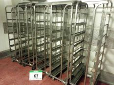 Five Stainless Steel 8-Tier Tray Trolleys for Approx. 420mm x 600mm Trays