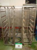 Two Stainless Steel 8-Tier Tray Trolleys for Approx. 420mm x 600mm Trays