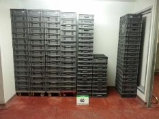 Approx. One Hundred and Ten ALLIBERT Grey Polypropylene Slatted Trays, each Approx. 400mm x 600mm