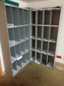 Two Approx. 920mm x 330mm x 1900mm Height Grey Steel 16-Compartment Pigeon Hole Racks (First Floor)