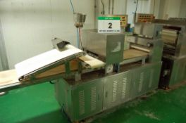 **A WUXI SANS TEC 420mm x 2770mm Overall Length Approx. Dough Press with A Thicknessing Roll, A Twin