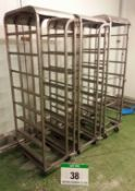 Three Stainless Steel 8-Tier Tray Trolleys for Approx. 420mm x 600mm Trays