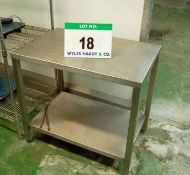 An Approx. 600mm x 900mm x 840mm Height Stainless Steel 2-Tier Food Preparation Table