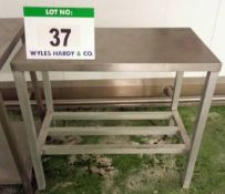 An Approx. 500mm x 920mm x 840mm Height Stainless Steel Topped Food Preparation Table