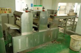 **A WUXI SANS TEC 450mm Wide x 4100mm Overall Length Approx. 3-Stage Dough Sheeter/Roller with Three