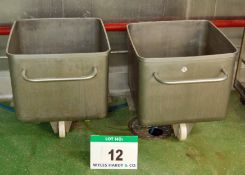 Two Stainless Steel Mobile Tubs / Tote Bins, each Approx. 620mm x 620mm x 540mm Approx. Internal