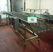 An Approx. 600mm Wide x 3900mm Long Stainless Steel Wire Mesh Mobile Horizontal Transfer Conveyor (