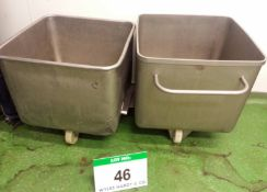 Two Stainless Steel Mobile Tubs / Tote Bins, each Approx. 620mm x 620mm x 540mm Internal capacity